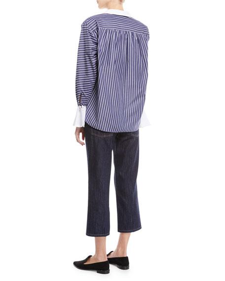 Peter Pan Collar Button-Front Striped Shirt w/ Shoulder Pads