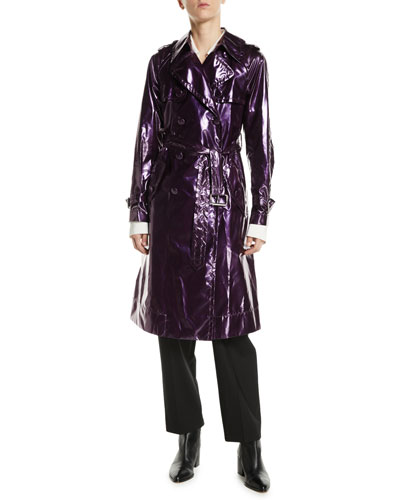 Double-Breasted Belted Shiny Trench Coat and Matching Items