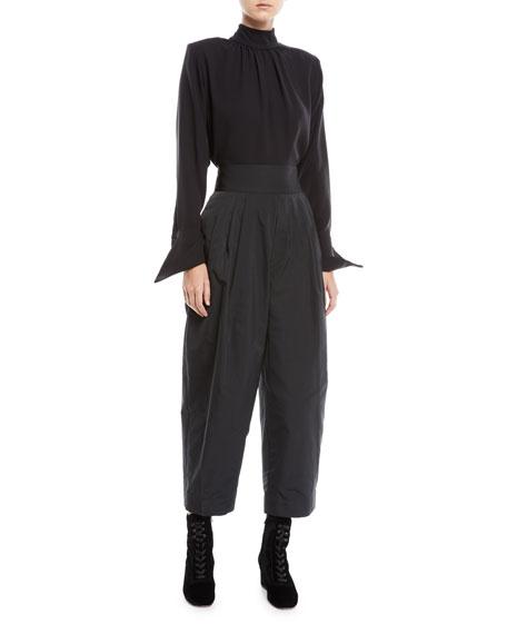 Gathered Mock-Neck Long-Sleeve Silk Blouse w/ Shoulder Pads