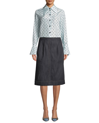 Long-Sleeve Button-Down Flocked-Dot Silk Blouse w/ Cuff Detail and Matching Items