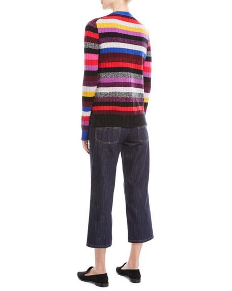 V-Neck Multicolor Stripe Cashmere Cardigan