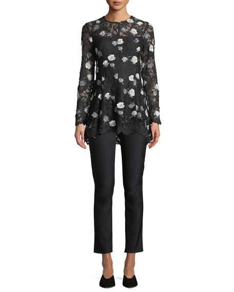 Long-Sleeve Fit-and-Flare Floral-Appliques Lace Top