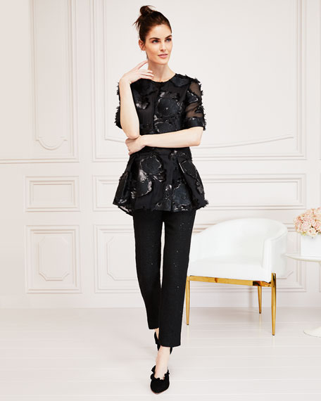 Short-Sleeve Floral-Embroidered Flounce Top