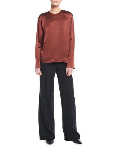 Tie-Back Silk Long-Sleeve Blouse and Matching Items
