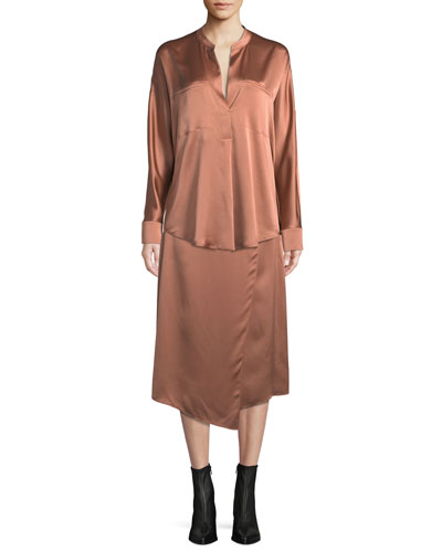 Band-Collar Silk Popover Blouse and Matching Items