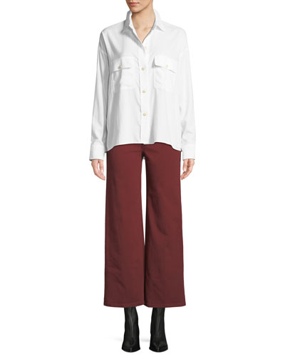 Long-Sleeve Button-Front Utility Shirt and Matching Items