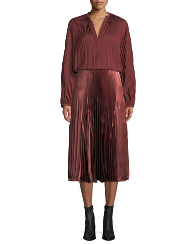 Pleated V-Neck Blouson-Sleeve Blouse and Matching Items