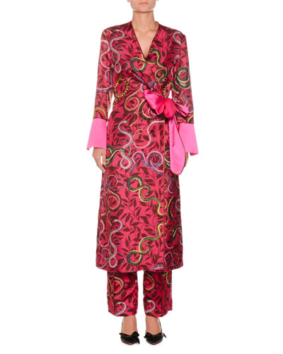 Geometric Snake-Print Self-Tie Silk Satin Robe  and Matching Items