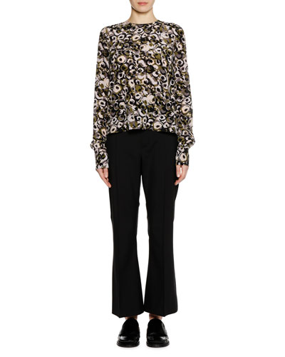 Long-Sleeve Marken Abstract-Print Silk Woven Blouse and Matching Items