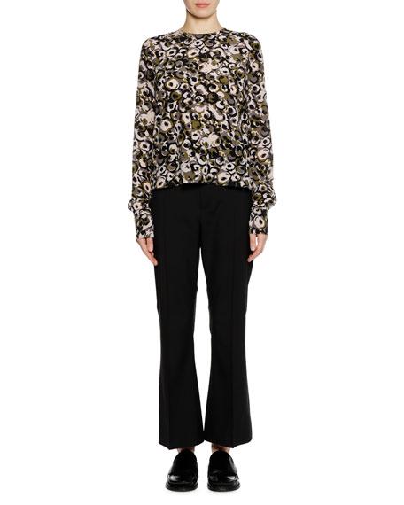 Long-Sleeve Marken Abstract-Print Silk Woven Blouse