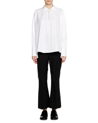 Long-Sleeve Zip-Neck Cotton Woven Shirt and Matching Items