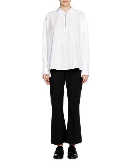Long-Sleeve Zip-Neck Cotton Woven Shirt