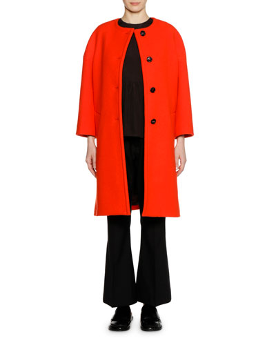 Long-Sleeve Felted Wool Button-Front Knee-Length Coat and Matching Items