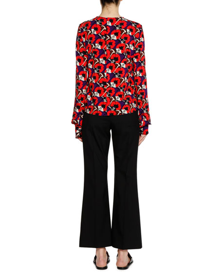 Long-Sleeve Crewneck Printed Knit Top