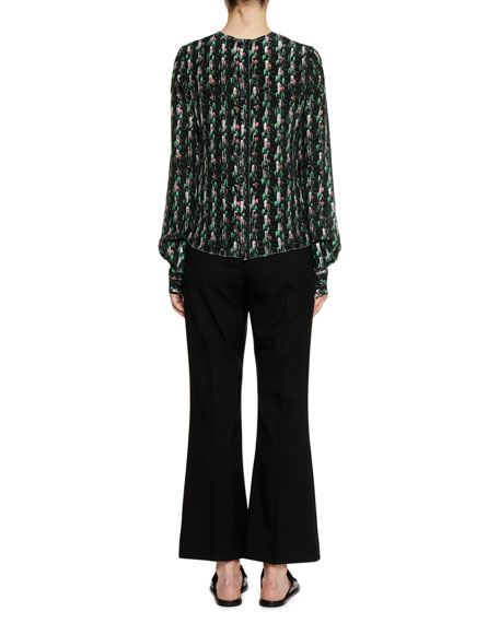 Long-Sleeve Crewneck Abstract-Print Silk Woven Blouse