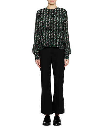 Long-Sleeve Crewneck Abstract-Print Silk Woven Blouse and Matching Items