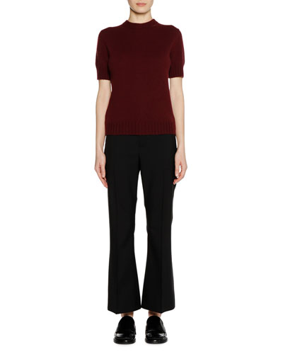 Short-Sleeve Bicolor Cashmere Sweater with Leather Zip Detail and Matching Items