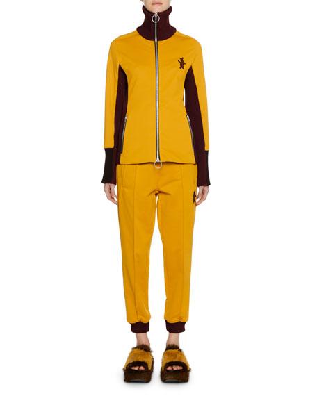 Zip-Front Bunny-Logo Techno Jersey Track Jacket