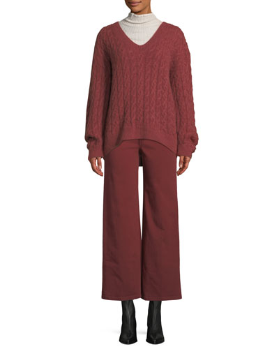 Ribbed Lettuce-Edge Turtleneck Sweater and Matching Items
