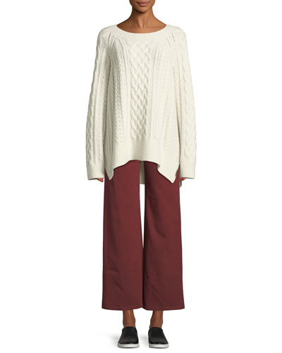 Cable-Knit Wool-Blend Tunic Sweater and Matching Items