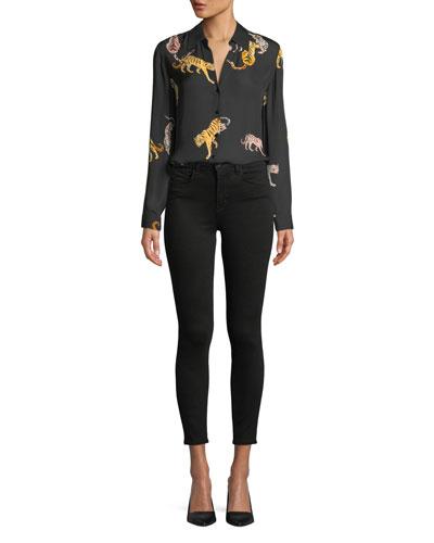Nina Tiger-Print Silk Blouse and Matching Items