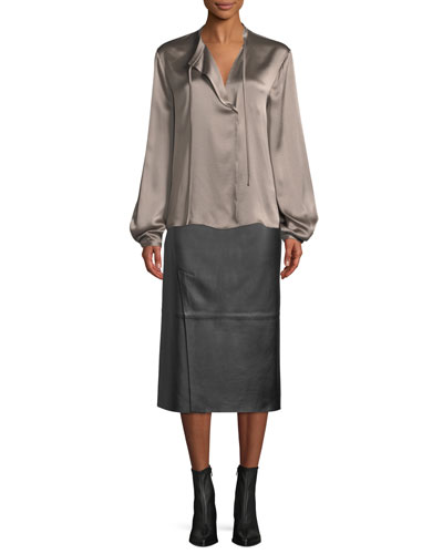 Silk Tie-Neck Long-Sleeve Popover Blouse and Matching Items