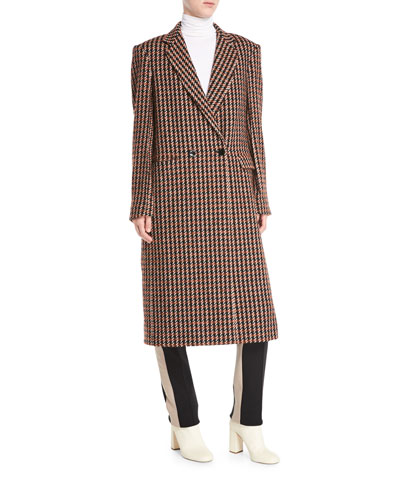 One-Button Houndstooth Plaid Easy-Fit Caban Coat and Matching Items