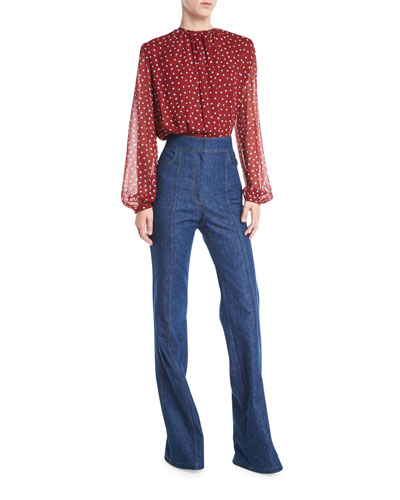 Long-Sleeve Dot-Print Gathered Jewel-Neck Silk Georgette Blouse and Matching Items