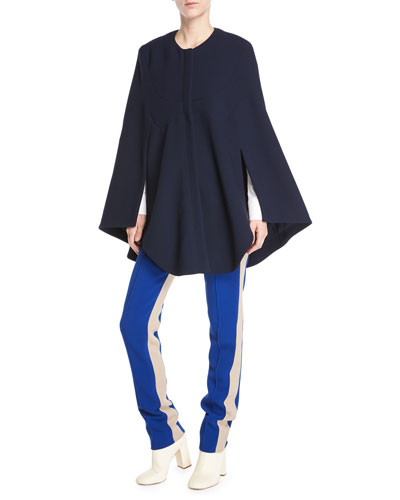 Jewel-Neck Seamed Short Cape Coat  and Matching Items