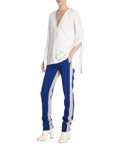 V-Neck Split-Sleeves Asymmetrical-Seams Pebble Crepe Top and Matching Items