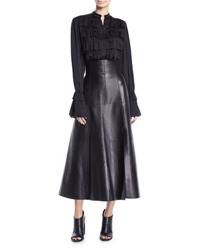Button-Front Long-Sleeve Plisse Pleated Shirt w/ Ruffle French Cuff and Matching Items