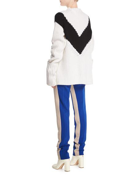 Mock-Neck Long-Sleeve Chevron Ribbed Cashmere Sweater