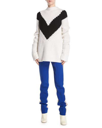 Mock-Neck Long-Sleeve Chevron Ribbed Cashmere Sweater and Matching Items