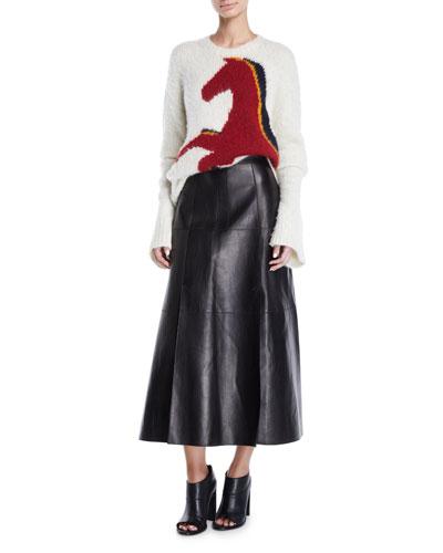 Crewneck Long-Sleeve Horse-Intarsia Wool-Alpaca Sweater and Matching Items