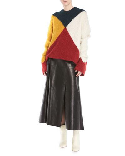 Crewneck Long-Sleeve Colorblock Brushed Alpaca Sweater and Matching Items