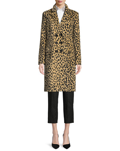 Double-Breasted Animal-Print Velveteen Topper Coat and Matching Items