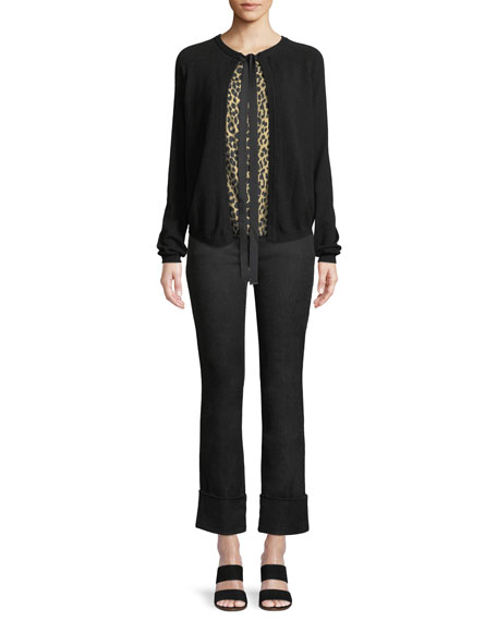 Tie-Front Wool-Cashmere Cardigan w/ Animal-Print Faux Top