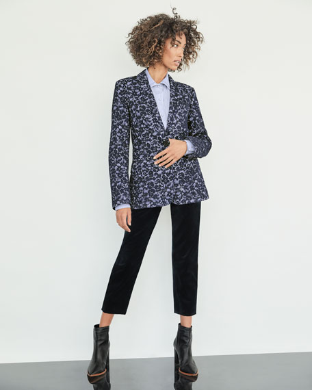 Single-Breasted Pinstripe Blazer w/ Lace Overlay