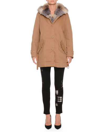 Button-Front Canvas Cotton Parka Coat w/ Fox Fur Collar  and Matching Items