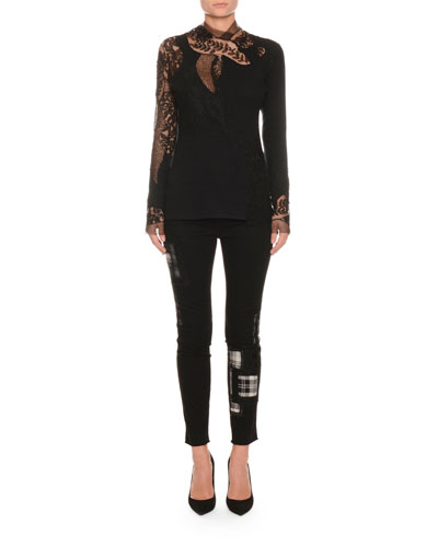 Long-Sleeve Floral-Lace Pashmina Top and Matching Items