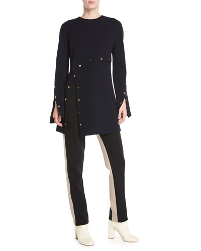 Long-Sleeve Wool Crepe Jersey Top w/ Snap Detail and Matching Items