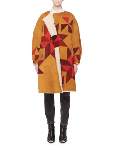 Nordic-Intarsia Reversible Lamb Shearling Fur Coat  and Matching Items