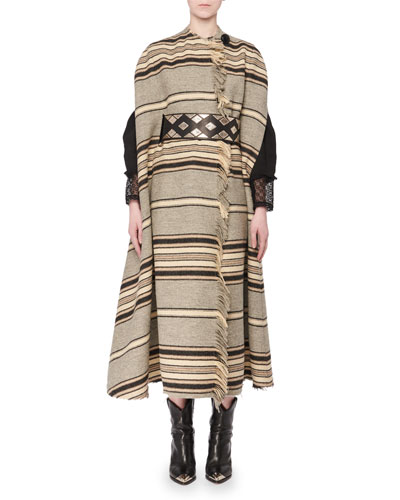 Wild West One-Button Long Striped Wool Blanket Coat and Matching Items