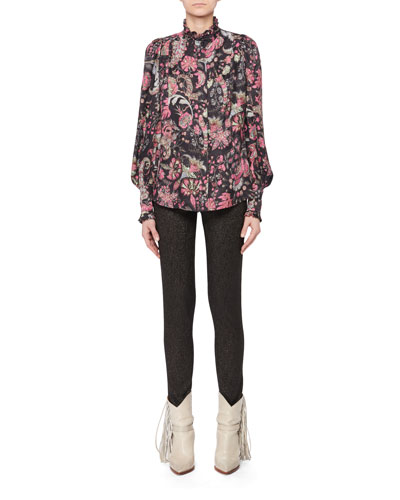 Mock-Neck Long-Sleeve Jacquard Print Silk-Blend Top and Matching Items