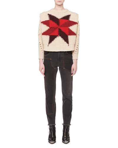 Nordic Crewneck Star Intarsia Boxy Wool-Mohair Sweater  and Matching Items