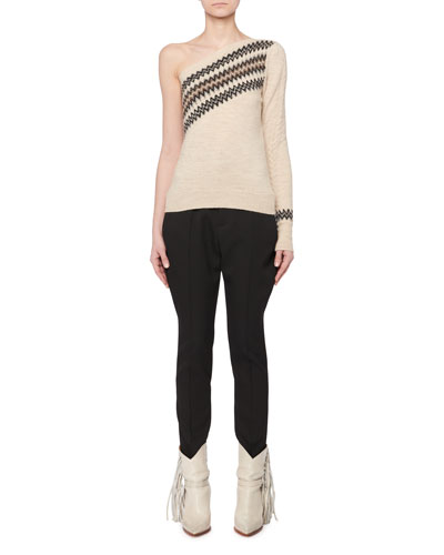 One-Shoulder Wild West Intarsia Wool-Blend Sweater and Matching Items