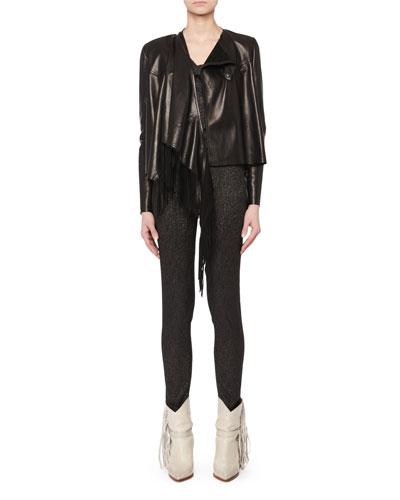 Asymmetric Fringe Lamb Leather Jacket  and Matching Items