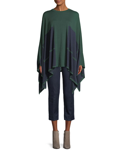 Bicolor Wool-Silk Knit Poncho w/ Underpinning 2-Way and Matching Items