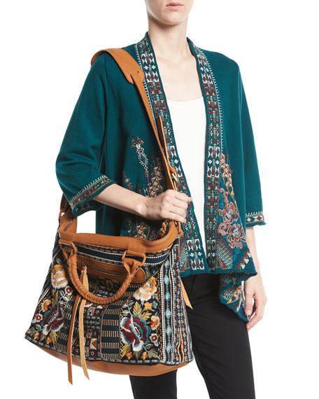 Nala Embroidered Knit Draped Cardigan