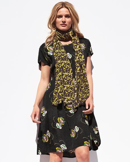Nitza Night Flower Shantung Dress